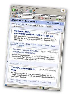 amednews RSS headlines in Google Reader